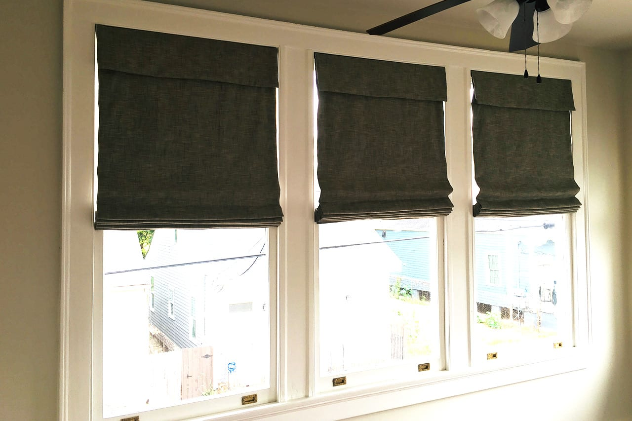 Roman Shades Taunton Surf with black out white liner