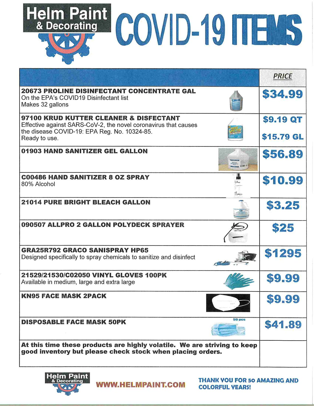 Helm Paint Covid-19 items Promos